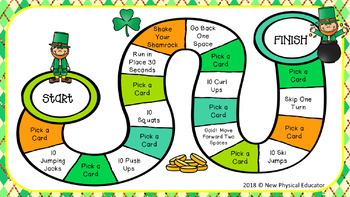Saint Patrick Day Board Game for Physical Education, Elementary