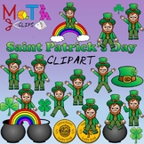 Saint Patrick Day Clipart - Clovers, Leprechauns, Pot of Gold