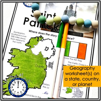 Saint Patrick History Minute Cross Curricular History and Reading Packet