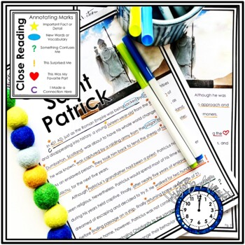 Saint Patrick History Minute Cross Curricular History and Close Reading Packet