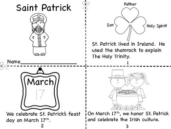 Saint Patrick Mini Book and Holy Trinity Shamrock