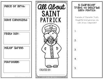 Saint Patrick Research Brochure Project with Interactive Notebook Pockets