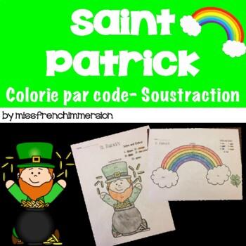 Saint-Patrick - Résous et colorie (soustraction)