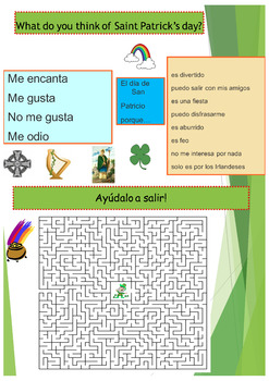 Spanish Saint Patrick, San Patricio booklet for beginners