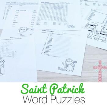 Saint Patrick Word Puzzles: No Prep Catholic Activities