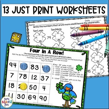 St. Patrick's Day Math Activities for First Grade - Print and Go Packet