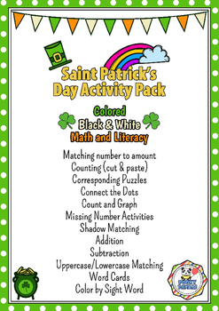 Saint Patrick's Day Activity Pack - No prep