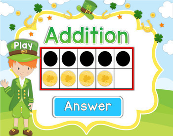 Saint Patrick's Day Addition 1-10 Powerpoint and Smartboard