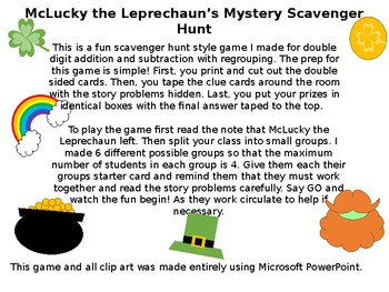 Saint Patrick's Day Addition and Subtraction Story Problem Treasure Hunt