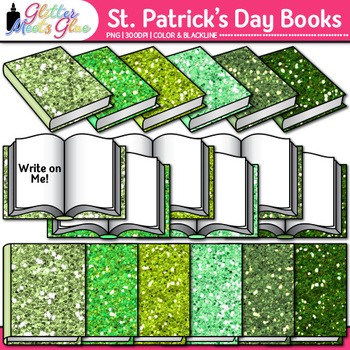Saint Patrick's Day Book Clip Art {School Supplies for Classroom Resources}