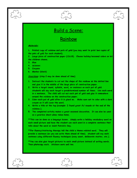 Saint Patrick's Day Build a Scene Rainbow for Speech and Language