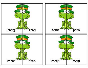 Saint Patrick's Day CVC Rhyming Match Game