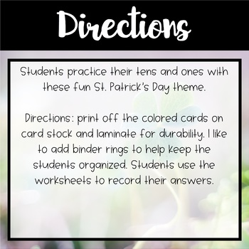 St Patrick's Day Center ~ Tens & Ones