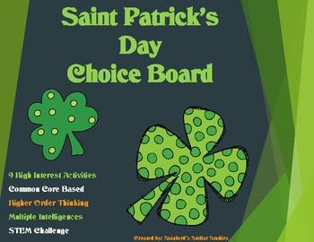Saint Patrick's Day Choice Board Tic Tac Toe Upper Element
