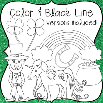 Saint Patrick's Day Clip Art, Color & Black Line .PNG Images Included!
