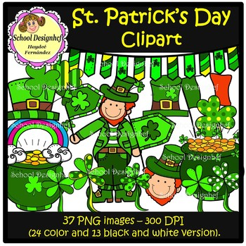 St Patrick's Day - Leprechaun - Shamrocks - Clip Art (School Designhcf)