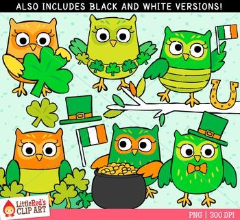 Saint Patrick's Day Owls Clipart