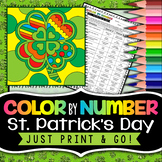 Saint Patrick's Day - Color By Number - St. Patrick's Day Fun Activities
