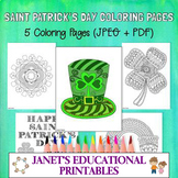 Saint Patrick's Day Coloring Pages - Set of 5