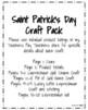 Saint Patrick's Day Craft Pack: Shape Pot of Gold, Name, Lucky Leprechaun, Hat