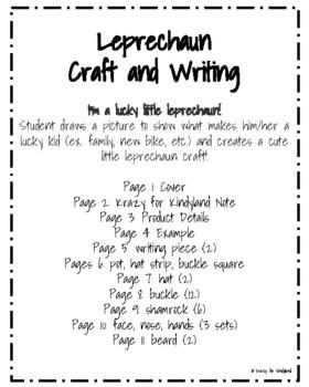 Saint Patrick's Day Craft and Writing: Lucky Little Leprechaun
