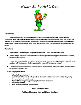 Saint Patrick's Day Creative Writing Task w/ Graphic Organizers