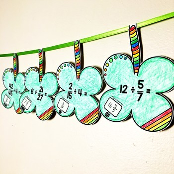 Saint Patrick's Day Dividing Fractions and Whole Numbers Math Pennant Activity