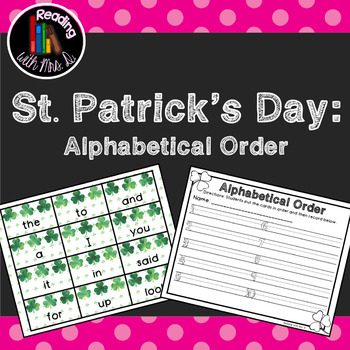 Saint Patrick's Day Dolch Alphabetical Order
