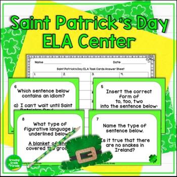St Patricks Day ELA Task Cards & Scoot Game