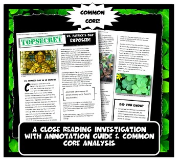 Saint Patrick's Day Exposed: Lesson Plan with Graphic Organizer
