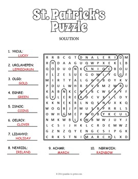 Saint Patrick's Day Free Puzzle Worksheet