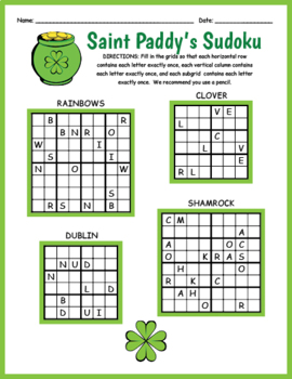 photograph about St Patrick Day Puzzles Printable Free referred to as Saint Patricks Working day FREEBIE - Straightforward Sudoku Worksheet by way of