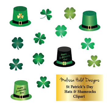 Saint Patrick's Day Hats and Shamrocks Clipart