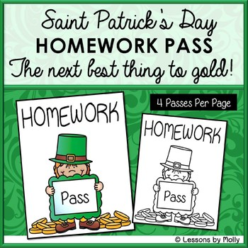 Saint Patrick's Day Homework Pass