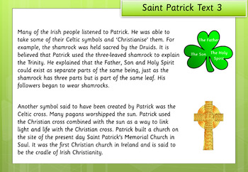 Saint Patrick's Day Information Sheets and Comprehension Questions