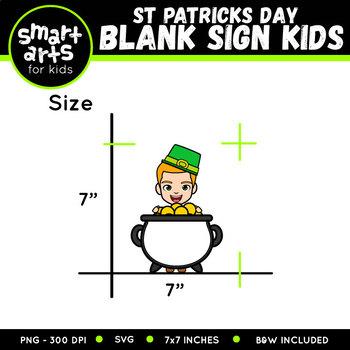 Saint Patrick's Day Kids Holding Blank Sign Clip Art