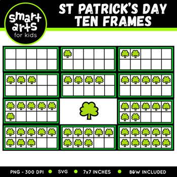 Saint Patrick's Day Leprechaun Ten Frames Clip Art