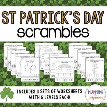 Saint Patrick's Day Letter Scrambles