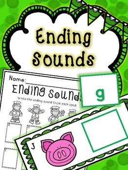 Saint Patrick's Day Literacy Center -- Ending Sounds