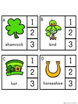 Saint Patrick's Day Literacy Center -- Syllable Clip Cards