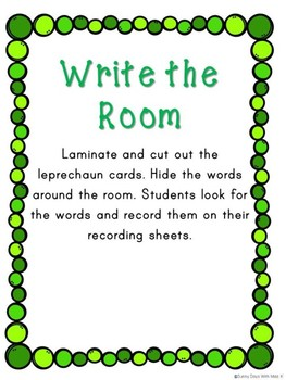 Saint Patrick's Day Literacy Center -- Write the Room-- Sight Words