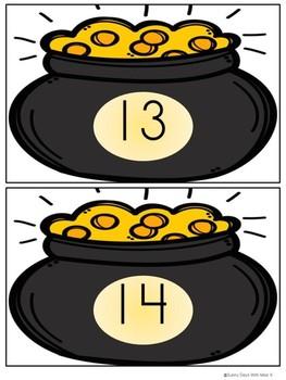 Saint Patrick's Day Math Center-- Pot of Gold-- Teen Numbers
