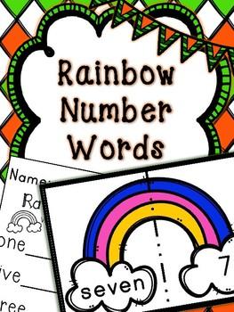 Saint Patrick's Day Math Center-- Rainbow Number Words