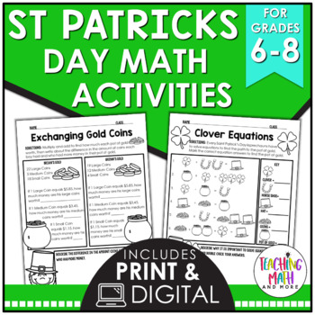 Saint Patrick's Day Middle School Math Activities
