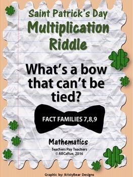 Saint Patrick's Day Multiplication Riddle Worksheet (7,8,9 multiplication facts)