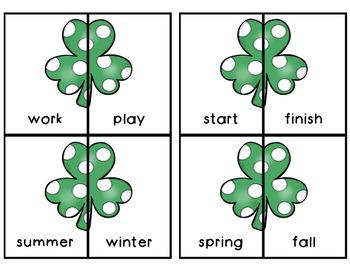 Saint Patrick's Day Opposites Attract Antonym match game