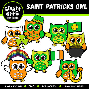 Saint Patrick's Day Owls Clip Art