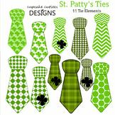 Saint Patrick's Day St Patty's Tie Shaped Patterns Digital Clip Art Elements