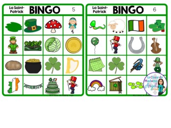 Saint Patrick's Day Themed Bingo Game in French
