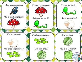 Saint Patrick's Day Themed Vocabulary Game in French - J'ai...Qui a...?